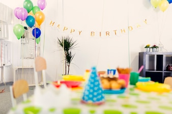 Decorated room on birthday