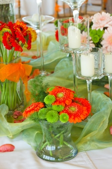 Decorated table with flowers