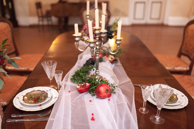 Decorated table with red grenades