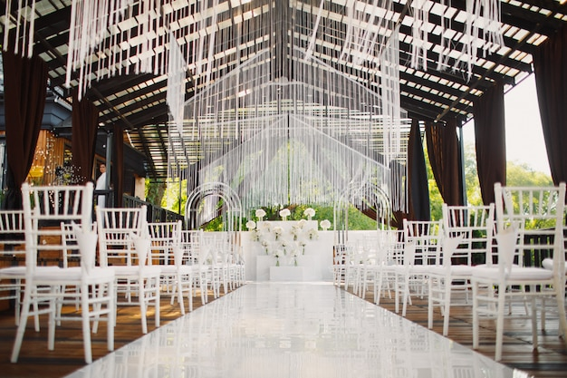 Decorated venue for the wedding ceremony