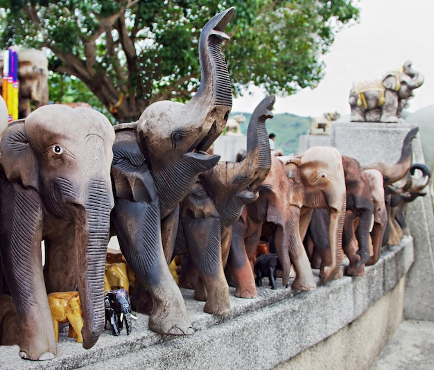 Decorated wooden elephants