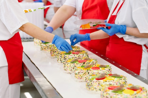 製菓工場のコンベアでケーキを飾る