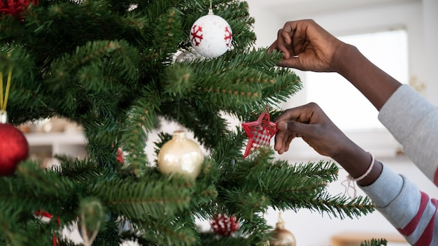 その上に様々なクリスマスの飾りをぶら下げて休日の木を飾る