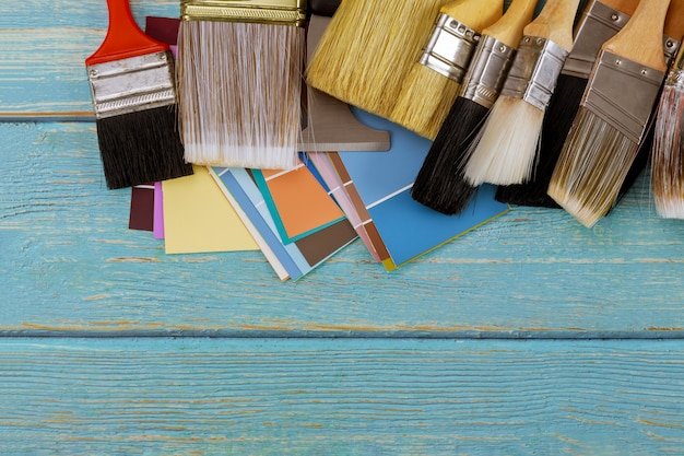 Decorating painting brush tools and color palette choice with copy space view