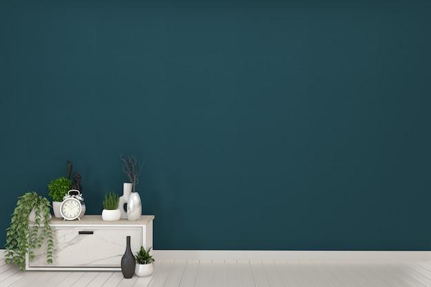 濃い緑色の部屋とdecoration.3dレンダリングのフレームと白のキャビネットテレビ