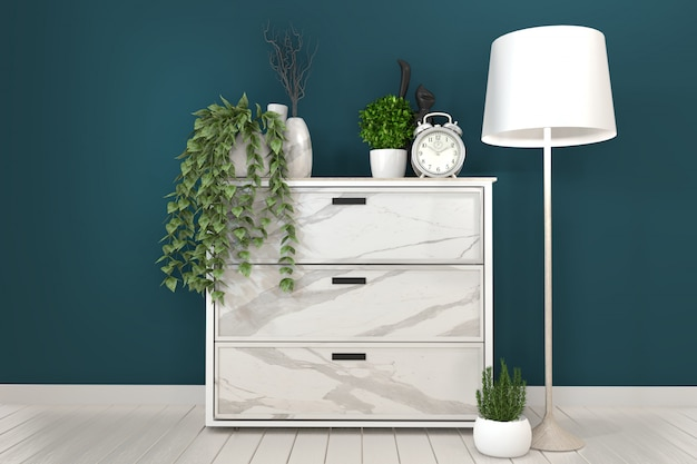 濃い緑色の部屋とdecoration.3dレンダリングの白いキャビネットテレビ