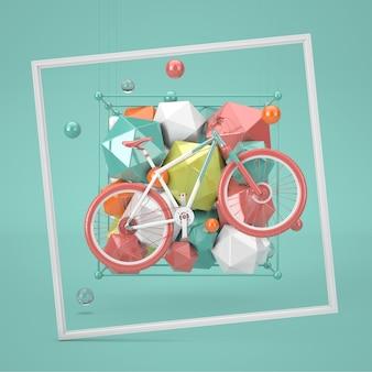 緑の背景にマウンテンバイクスポーツコンセプトシーンの装飾抽象的な幾何学的形状。 3dレンダリング