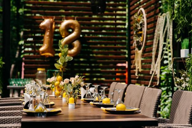 休日のテーブルの装飾