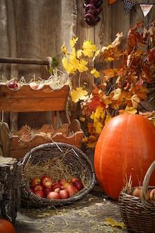 Decoration autumn hay pumpkins and autumn gifts