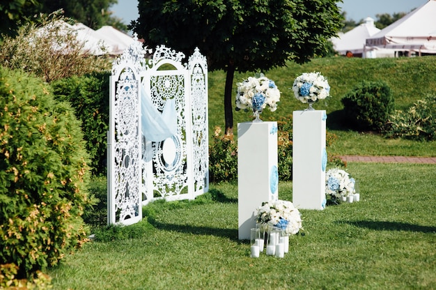 Decoration of beautiful wedding ceremony in the park