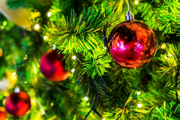Decoration on christmas day with red ball