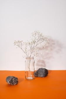 단단한 그림자의 미니멀한 구성이 있는 꽃병에 있는 말린 꽃의 장식 개념 정물