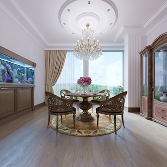 Decoration and furniture in modern dining room. 3d rendering