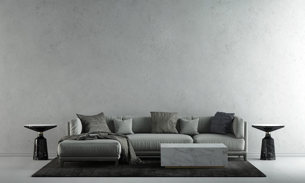 The decoration mock up interior design and living room with concrete wall texture background