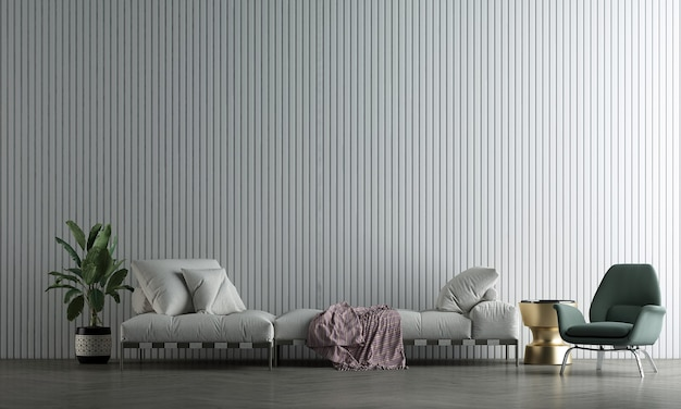 The decoration mock up interior design and white living room with white empty wall texture background