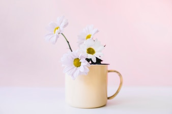 Decoration of flowers in mug