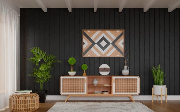 Украшение гостиной на темной стене мебелью из ротанга
