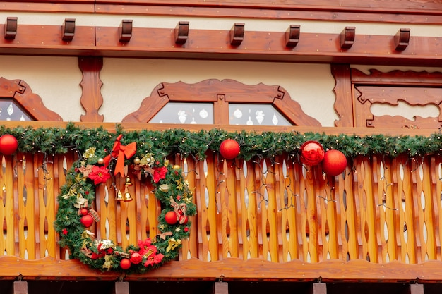 Decoration of spruce branches at the christmas market in wroclaw, poland