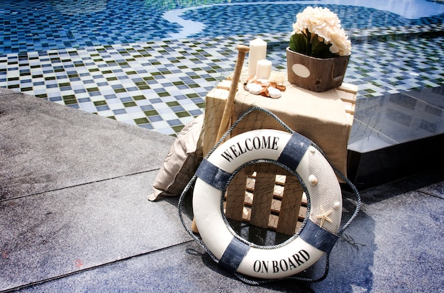 Decoration swimming pool in marine concept
