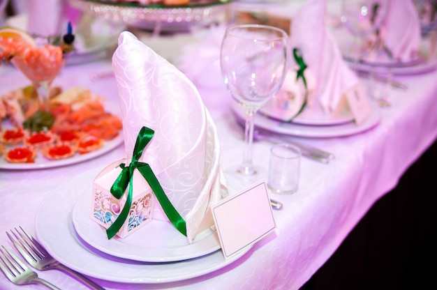 Decoration of the tables at the wedding.