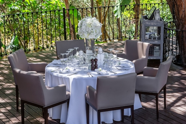 Decoration of a wedding table in the garden.