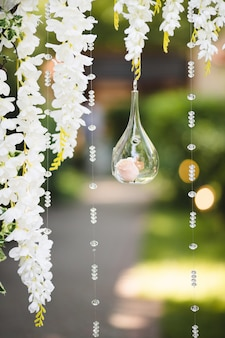 Decoration for a wedding with defocused background