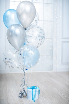 Decorations for birthdays, weddings, anniversaries with balloons, gifts