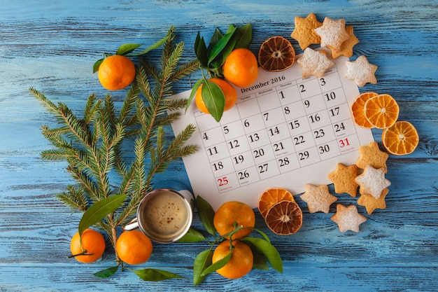 Decorations and calendar with christmas day marked out