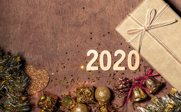 Decorations of happy new year 2020 festival with copy space for your text beside.
