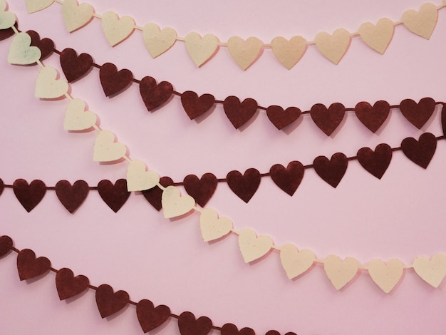Decorations made of black and white hearts