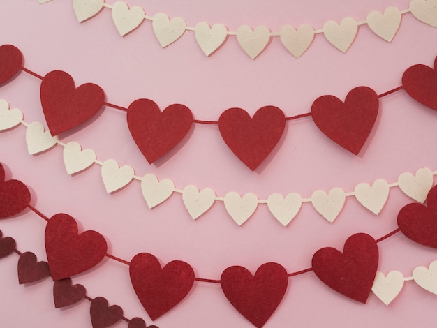 Decorations made of red and white hearts