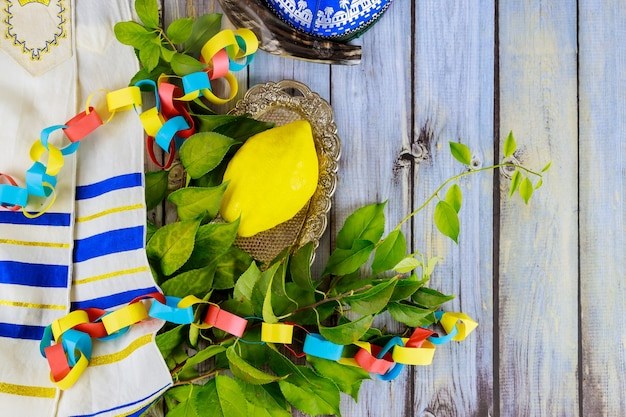 Decorations for sukkot on fresh citron, etrog the jewish holiday