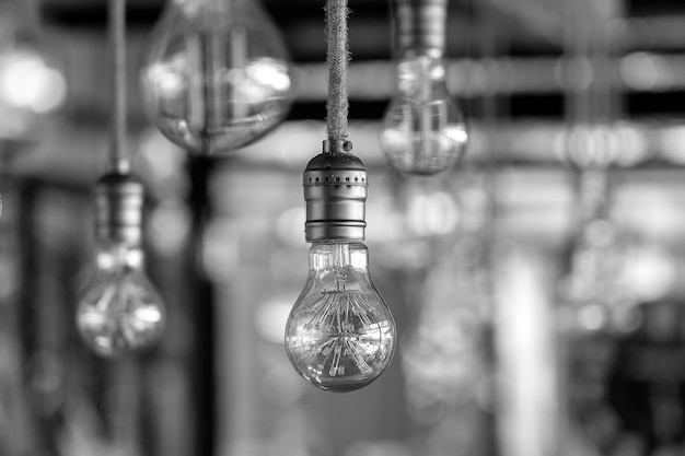 Decorative antique edison style light bulbs, vintage electric lamp, close up. black and white