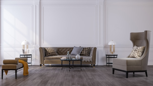 가정, 사무실 및 호텔 장식 배경. 현대 거실 인테리어 디자인 및 인테리어 세부 사항에 중점을 둡니다.