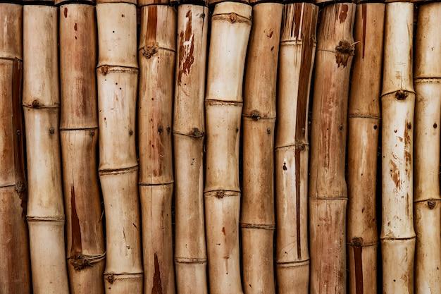 Декоративный фон из круглых стволов бамбука для интерьера с декором из натуральных материалов