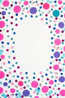 Decorative background with bright festive confetti.