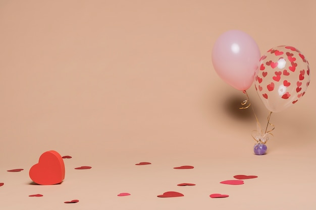 Decorative balloons with heart figures
