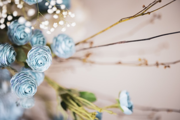 장식 흐린 된 푸른 꽃 꽃다발