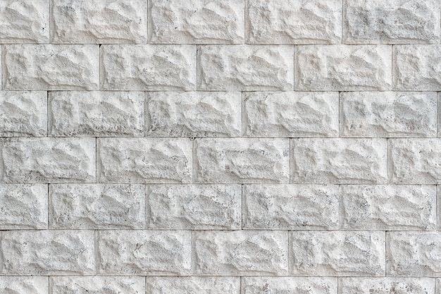 Decorative brick wall painted in white close-up as a background or texture.