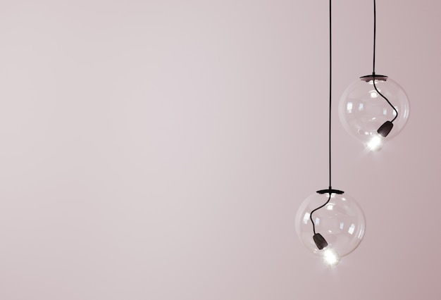 Decorative ceiling lights / hanging lights on pink background with copy space. 3d rendering