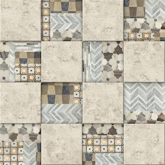 Декоративная керамическая плитка. каменная мозаика с узорами. фоновая текстура