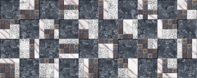 Decorative ceramic tiles with relief, natural stone texture and pattern.