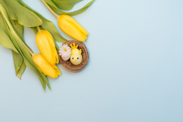Decorative chick with an egg in the nest and yellow tulips