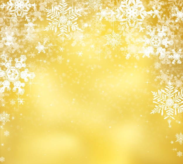 Декоративный новогодний фон с боке огнями и снежинками