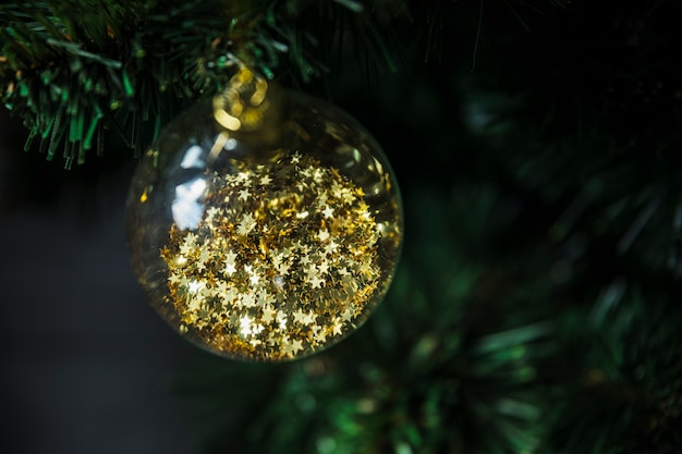 Decorative christmas bauble on fir tree