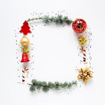 Decorative christmas frame on white background