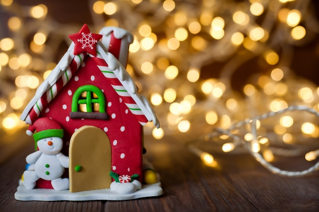 Decorative christmas red gingerbread house