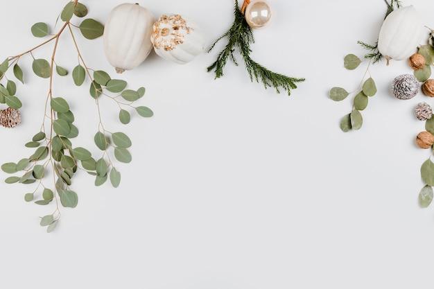 Decorative christmas spirit flat lay background