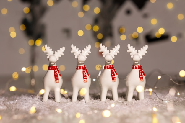 Decorative christmas-themed figurines. christmas deer.