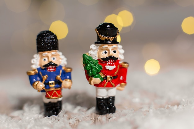 Decorative christmas-themed figurines. christmas toy soldiers from a nutcracker fairy tale.